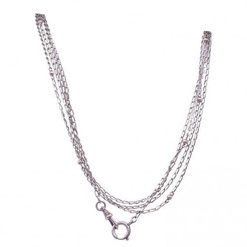 C.1880 Sterling Silver Chain with Ornamental Gold Balls