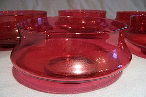 Set Five Victorian Waisted Cranberry Glass Fingerbowls