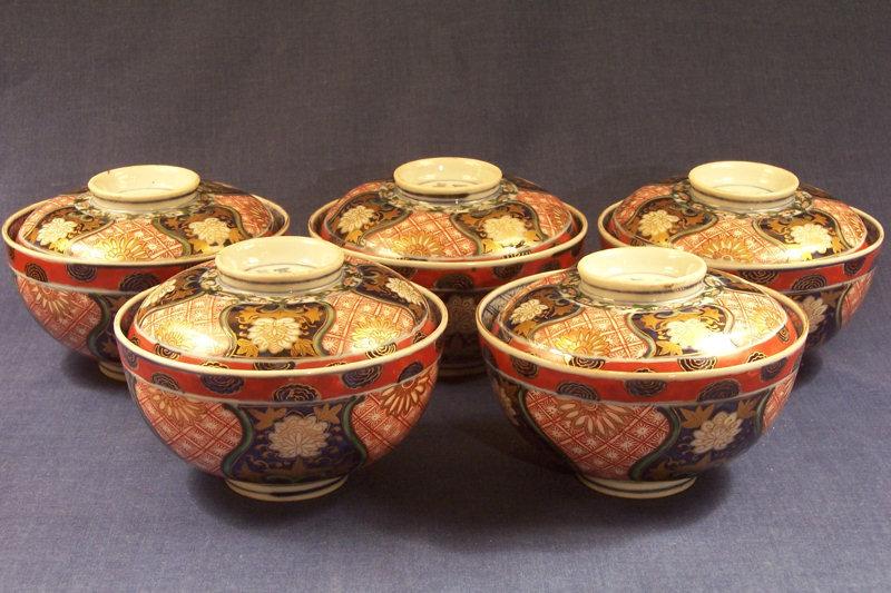 Set Five Japanese Imari Porcelain Covered Bowls, Marked