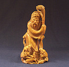 A Good 19th Century Carved Soapstone Figure of Lao Tzu