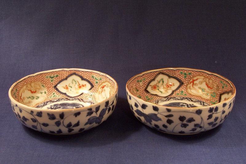 A pair of Japanese Imari Porcelain Bowls Ca 1900
