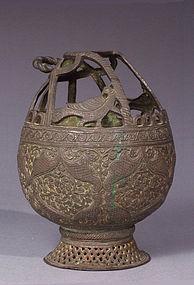 Kashmiri, Mughal Style Chiseled, Stippled Bronze Kangri