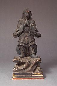 Japanese Edo Carved, Lacquered Wood Buddhist Guardian