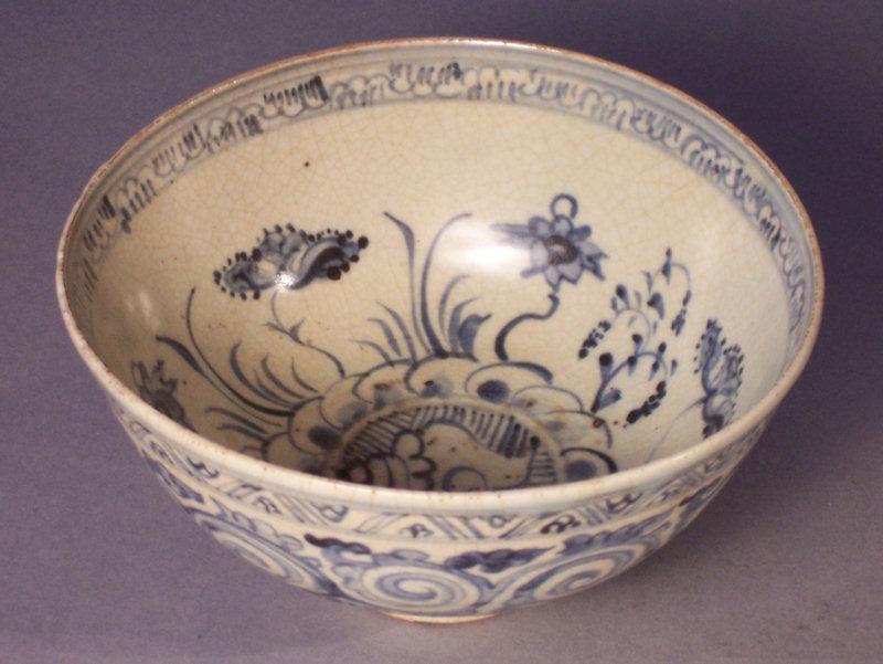 15th-16th C. Annamese Blue & White Bowl, Aquatic Motif