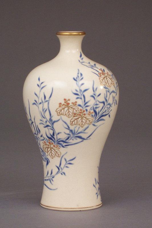 Tozan, Kyo-Satsuma vase. Gosu blue Paulownia decoration
