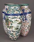 Unusual, Large Japanese Tripart Polychrome Porcelain Vase