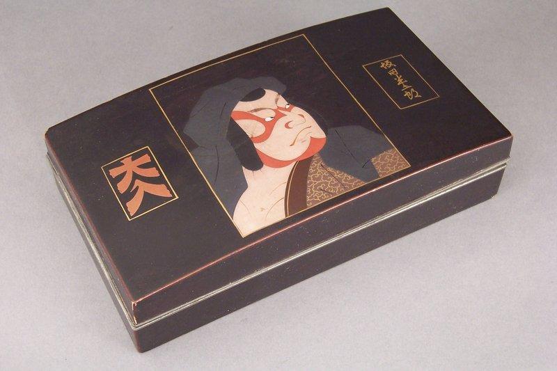 Lacquer Named Kabuki Actor Portrait Box, Daihachi Role