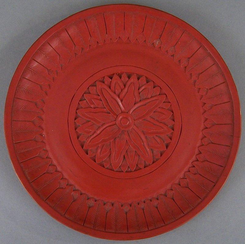 Chinese Carved Cinnabar Saucer Dish, Chrysanthemum