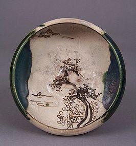 Japanese Oribe Shallow Bowl, Zen Landscape Decoration