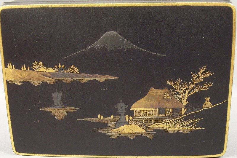Good Japanese Komai Type Box, Boat in Mt Fuji Landscape