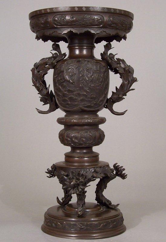 Good Japanese Meiji Era Bronze Usabata Signed Takayoshi