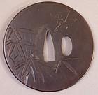 Edo Period Chiseled Iron Tsuba, Three Friends of Winter