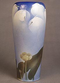 Japanese studio porcelain vase Egrets among Lotus, anon