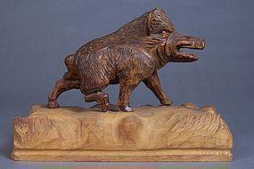 Black Forest Carved Wood Boar, Signed, Dated, Shop Mark