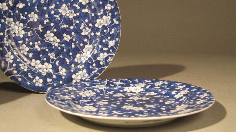 Pr Japanese Blue White Porcelain Hawthorne Motif Dishes