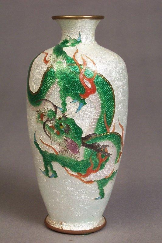 Marked Japanese Ginbari Cloisonne Dragon Decorated Vase