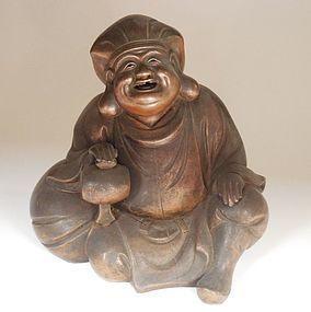 Bizen Stoneware Figure of Daikoku, Signed