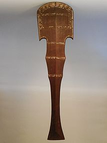 Solomon Islands Carved And Incised Wood Samoan Crescent Club