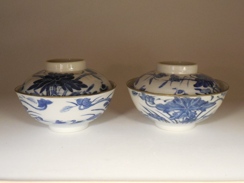 Pair Chinese Blue and White Porcelain Covered Bowls, Vietnamese Market