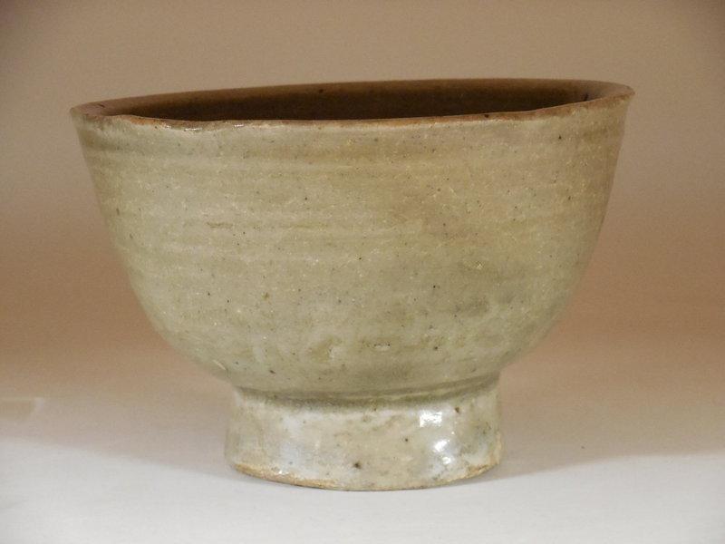 Korean Celadon Bowl, Raised Foot, Joseon Dynasty
