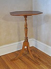 Curly and Birdseye Figured Maple Stand, Turned Column, Octagonal Top