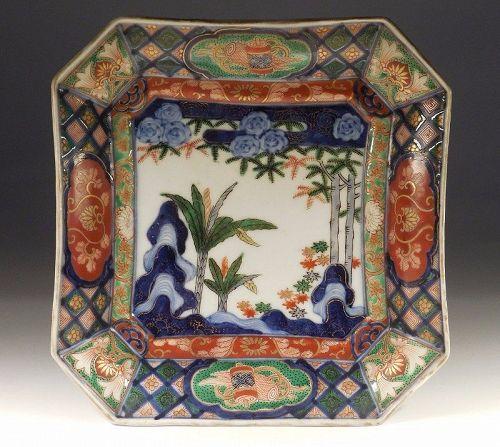 A Japanese Imari Square Dish with Fine, Garden Landscape Decoration