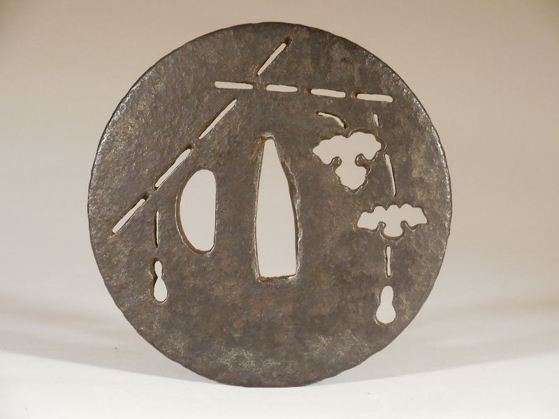 Ko-Tosho Tsuba with Sukashi Decoration of Bamboo Trellis and Eggplants