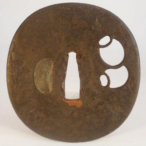 Large Tembo Hot Stamped Iron Tsuba, Sukashi Decoration of Okiagari