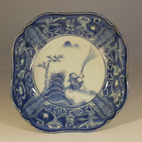 Arita Blue and White Shallow Bowl, Sennin and Gourd, Shironuki Cavetto