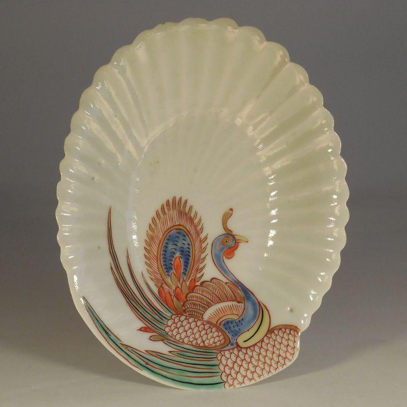 Arita, Kakiemon Style, Porcelain Seashell Form Dish, Ho-o Decoration