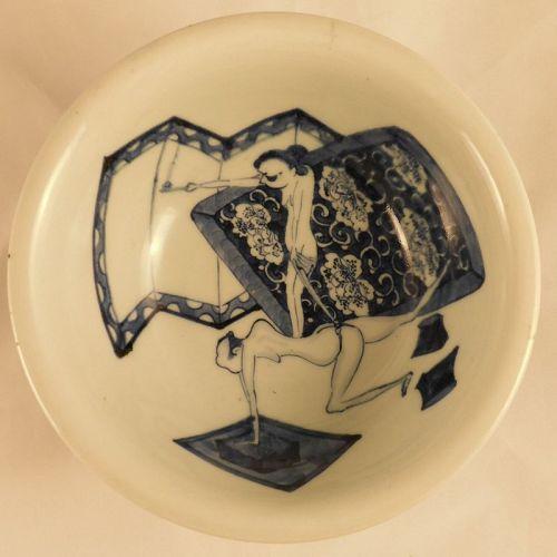Rare Japanese Arita Shunga Decorated Blue and White Porcelain Haisen