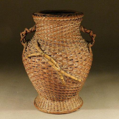A Fine Little Japanese Woven Bamboo Reed Ikebana Basket