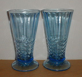 Blue Aunt Polly Footed Vases