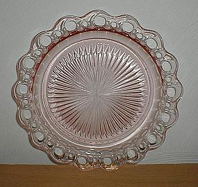 """Pink Old Colony Lace Edge 10 1/2"""" Dinner Plate"""