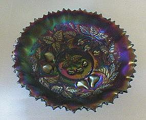 "Northwood 3 Fruits 9"" amethyst Bowl"