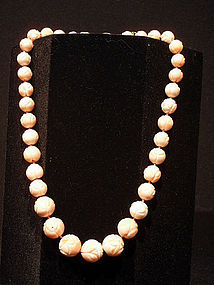 Angelskin Coral Carved Bead Necklace
