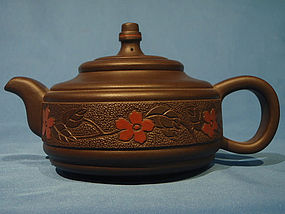 Yixing Teapot with Floral Band by  Wang Guifen