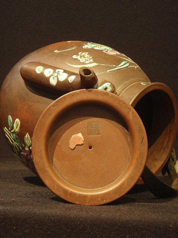 Large Enamel Decorated Yixing Teapot  Birds and Flowers