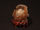 Chinese Carved Water Agate Happy Buddha Lotus