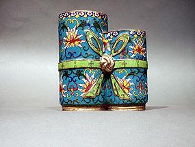 Cloisonne Double Brush Pot with Lotus Designs