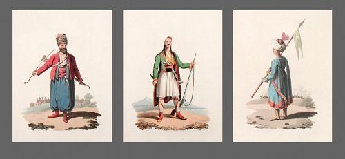 SPAHI CAVALRYMAN OFFICER Military Costume Turkey Group Antique Prints