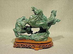 Aventurine Carving Animated Horse Group