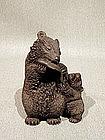 Lifelike Shoushan Carving of Bear and Cub