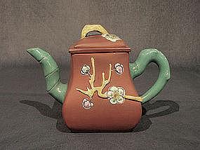 Enamel Decorated Vintage Yixing Teapot 3 Friends Winter