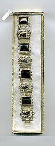 Silver Bracelet Plated Black Onyx Stones Mexico Vintage