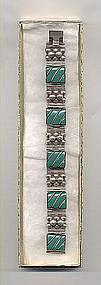 Mexico Silver Bracelet Green Onyx Vintage