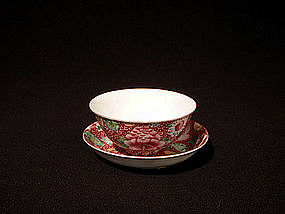 Chinese Red Ground Millefleur Cup and Saucer