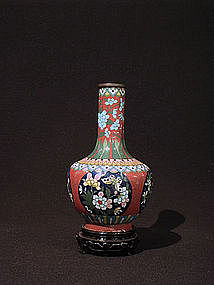 Chinese Cloisonne Vase Butterfly and Flower Medallions