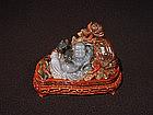 Agate Carved Happy Buddha Bat Lotus Chinese