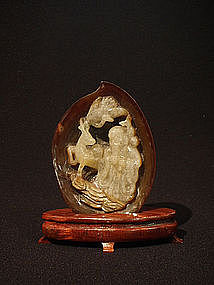 Chinese Carved Agate Shoulao in a Peach Form Grotto